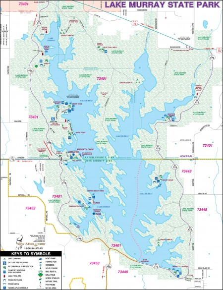 Map of Lake Murray State Park in Ardmore, OK